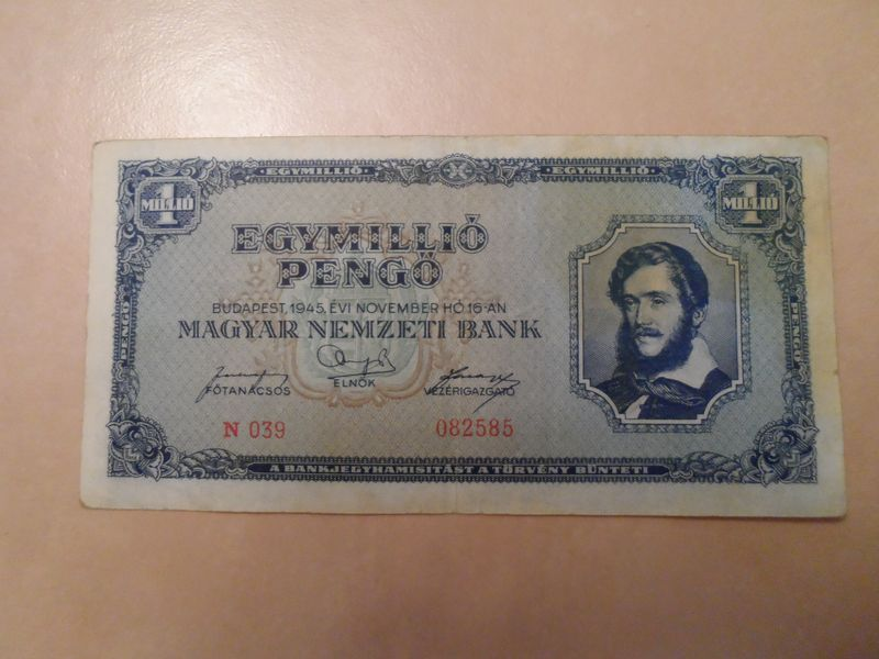 1945 Nov 1 Million Pengo Hungary