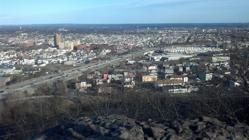 View of Paterson, NJ as Interstate 80 makes its way through the heart of the city