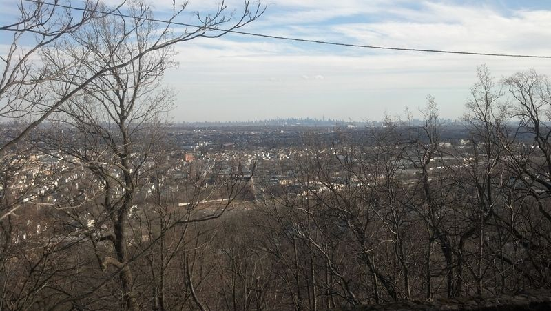 View of the distant Manhattan skyline from Garret Mountain, NJ