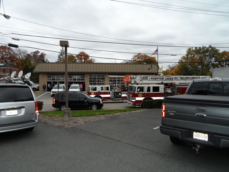Pompton Lakes Firehouse with media trucks for Chris Christie press briefing
