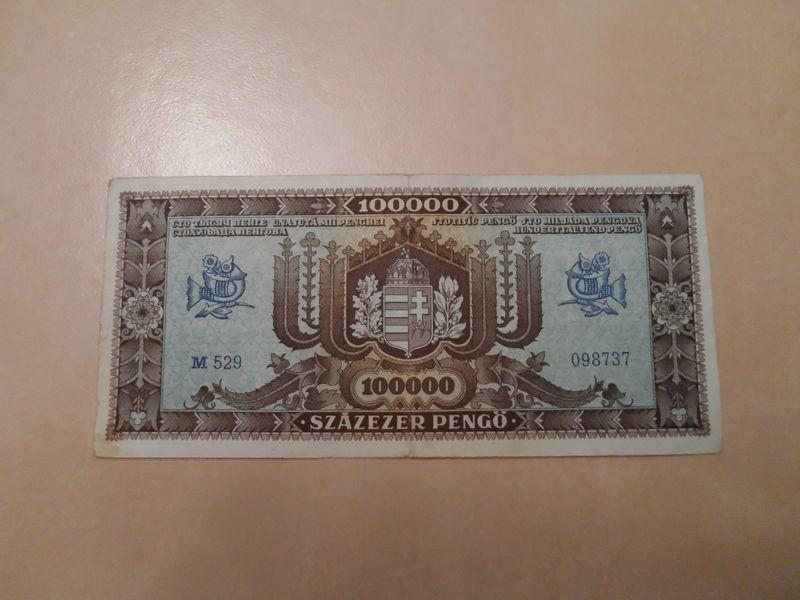 1945 October 100000 pengo Hungary reverse