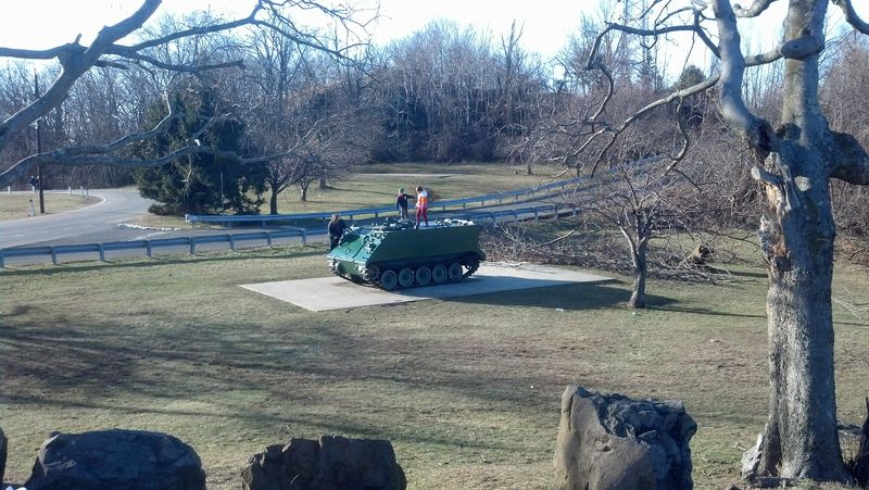 Children playing on an Armored Personnel Carrier in Rifle Camp Park on Garret Mountain