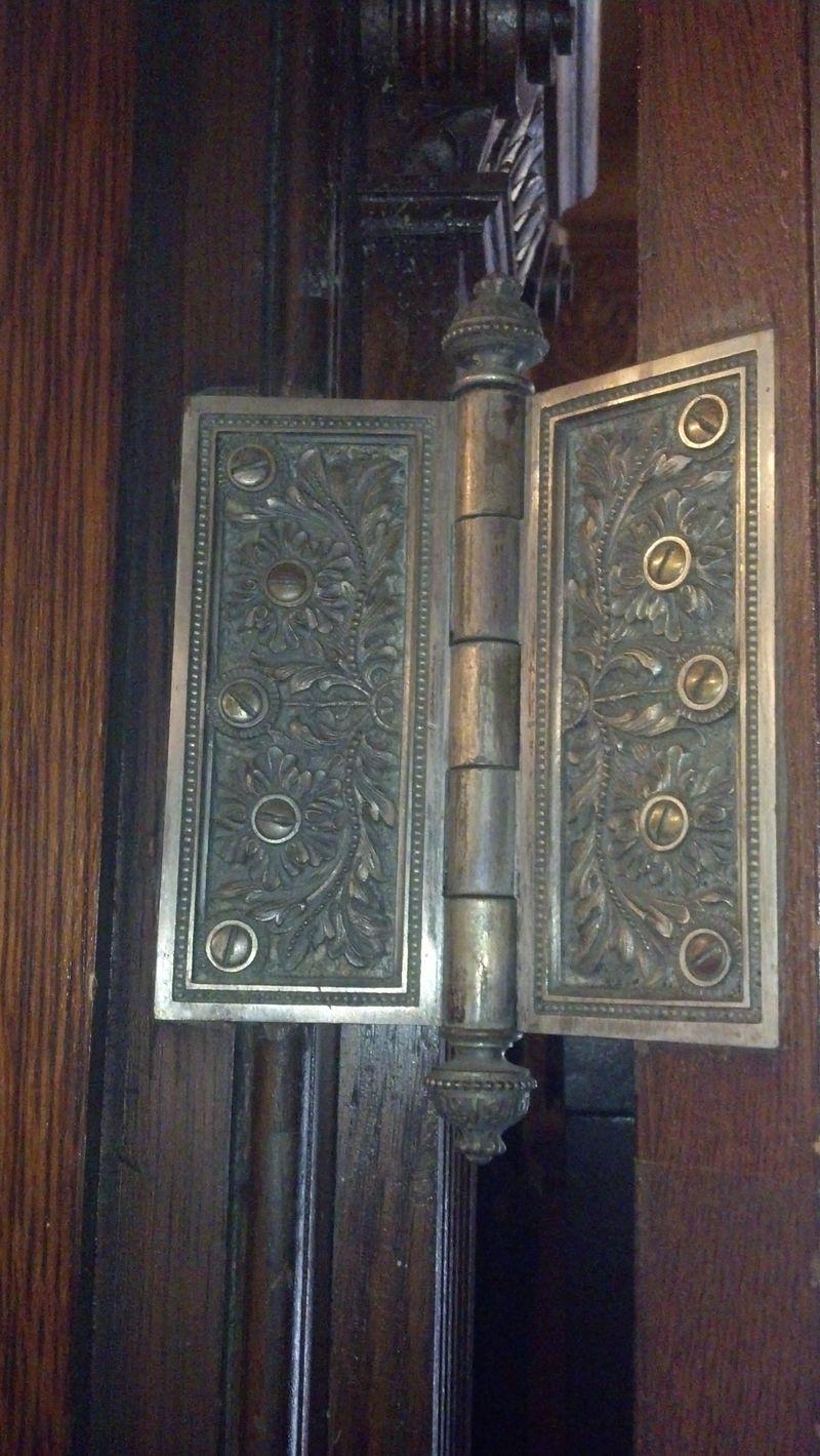 Ornate Hinge with fancy finials in Lambert Castle