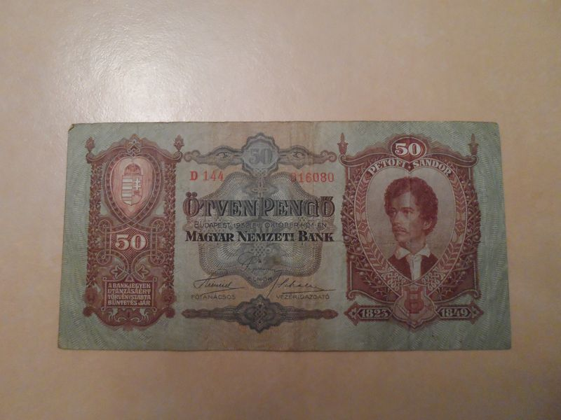 1932 Oct 50 Pengo Hungary