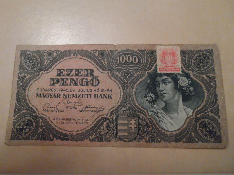 1945 Jul 1000 Pengo Hungary