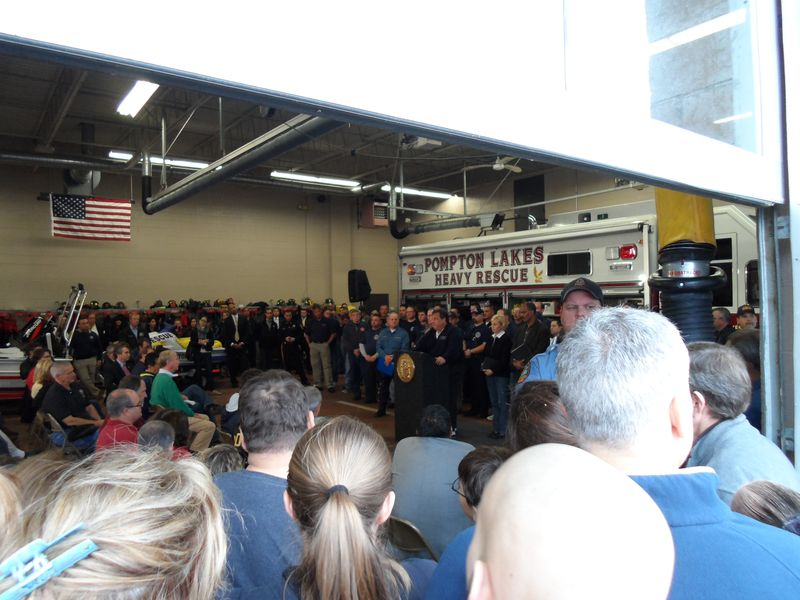 NJ Governor Chris Christie at Pompton Lakes Firehouse October 28th 2012