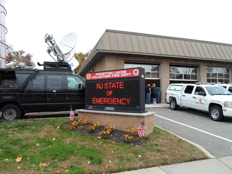 Pompton Lakes Firehouse sign indicating NJ's State of Emergency