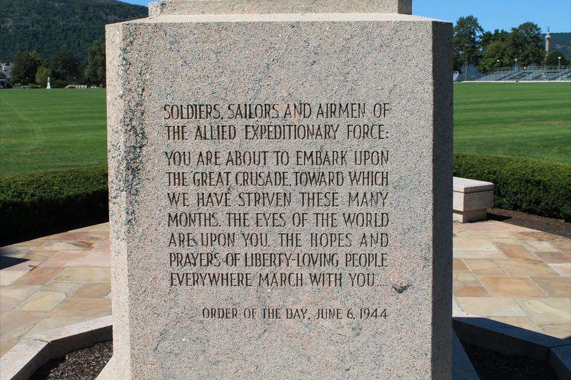 Eisenhower D-Day Order Inscription on Eisenhower Memorial at West Point
