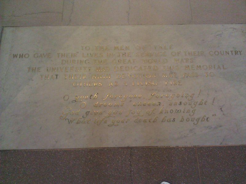 Memorial Dedication Yale